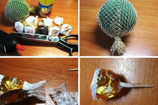 Как сделать мяч из конфет фото 391
