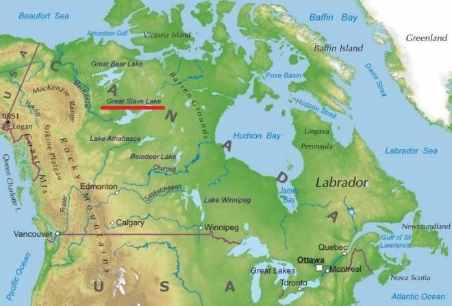 Большое Невольничье озеро на карте мира