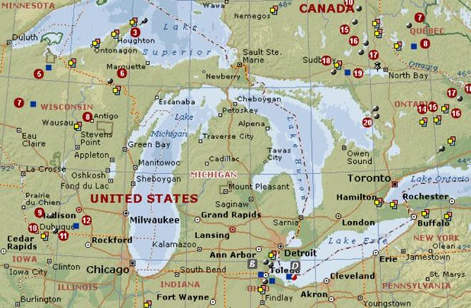 Озеро Гурон на карте мира